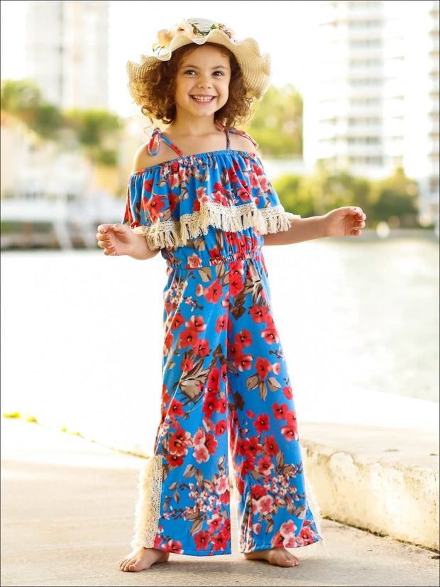 Girls Blue Floral Crochet Tassel Side Slit Ruffled Off the Shoulder Palazzo Jumpsuit - Girls Jumpsuit
