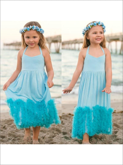 Girls Blue Halter Maxi Dress with Ruffle Waves