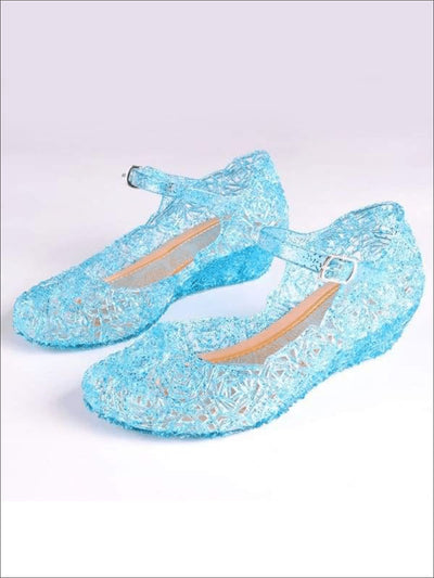 Girls Blue Jelly Flats Shoes - Girls Flats