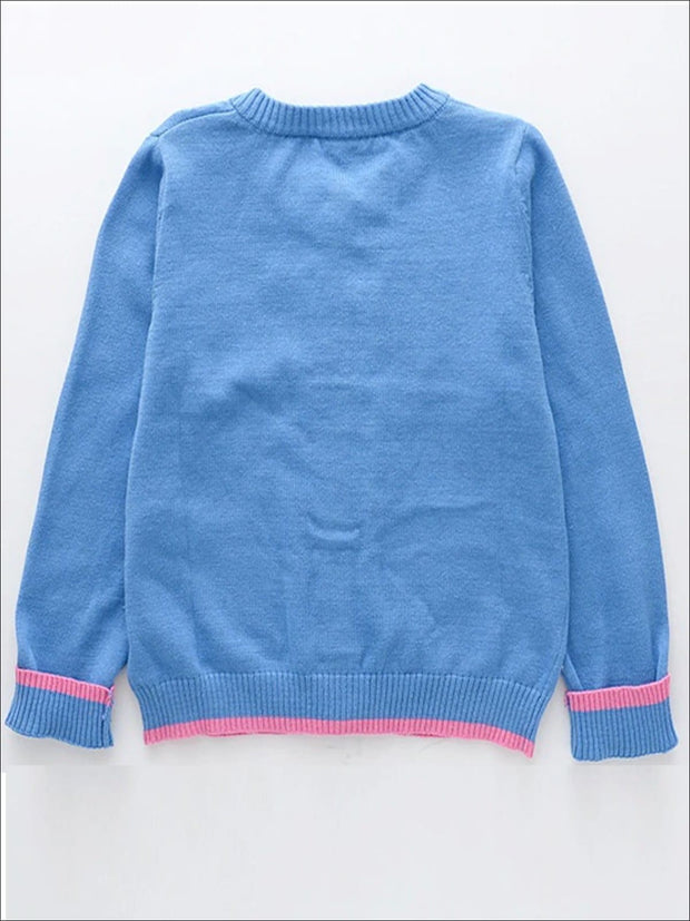 Girls Blue Knitted Rainbow Unicorn Cardigan - Girls Jacket