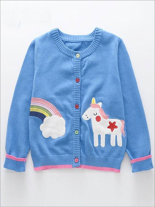 Girls Blue Knitted Rainbow Unicorn Cardigan - Blue / 24M - Girls Jacket