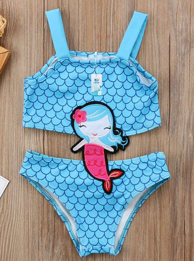 Girls Blue Mermaid Embroidered Swimsuit - Girls One Piece Swimsuit