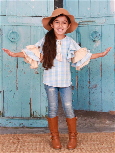 Girls Blue & Peach Plaid Ruffled Flared Sleeve Tassel Neck Drawstring Tunic - Blue / 2T/3T - Girls Fall Top