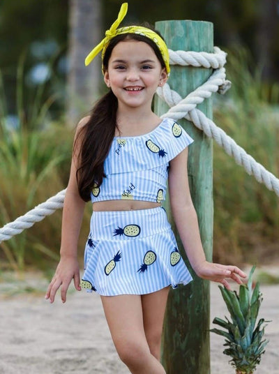 Girls Blue Pineapple Print One Shoulder Ruffle Top & Skirted Bottom Two Piece Swimsuit - Blue / 4T/5Y - Girls Two Piece Swimsuit