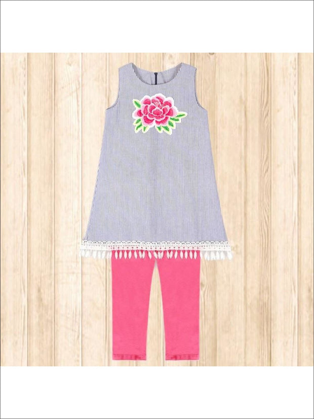Girls Blue Pinstriped Set with Large Embroidered Flower Applique - Girls Set