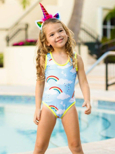 Girls Blue Rainbow & Cloud Print One Piece Swimsuit - Blue / 4T/5Y - Girls One Piece Swimsuit