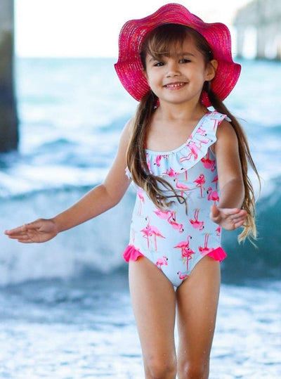 Girls Blue One Shoulder Ruffled Flamingo Print One Piece Swimsuit - Girls One Piece Swimsuit