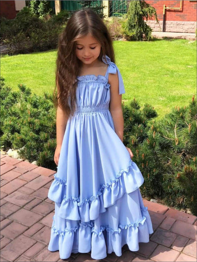 Girls Blue Ruffled Maxi Dress - Girls Spring Casual Dress