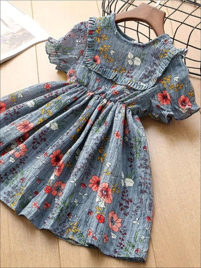 Girls Blue Short Sleeve Floral A-Line Dress - Blue / 2T - Girls Spring Casual Dress