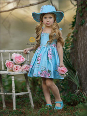 Girls Blue Spring Sleeveless Floral Print Sun Dress with Matching Hat - Girls Spring Casual Dress