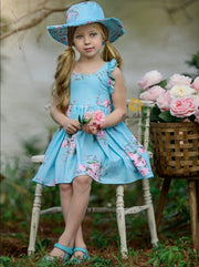 Girls Blue Spring Sleeveless Floral Print Sun Dress with Matching Hat - Sky Blue / 2T - Girls Spring Casual Dress