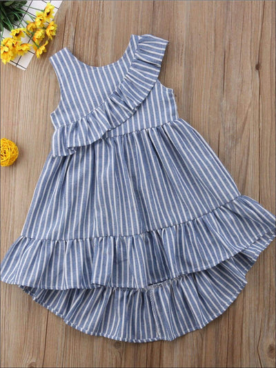 Girls Blue Striped Ruffle Sleeveless Hi-Low Dress - Girls Spring Casual Dress