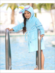 Girls Blue Unicorn Bathrobe - Unicorn Bathrobe