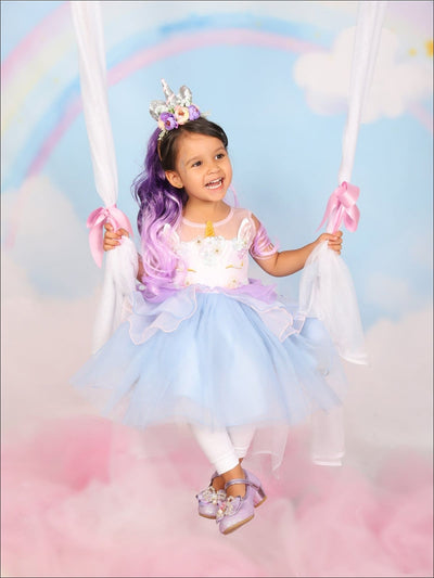 Girls Blue Unicorn Halloween Tutu Dress with Matching Headband - Girls Halloween Costume