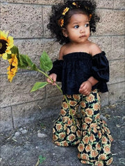 Girls Blue Velvet Off Shoulder Tunic & Sunflower Bell Bottom Pant Set - Girls Spring Casual Set