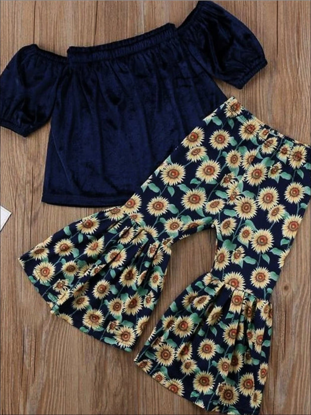 Girls Blue Velvet Off Shoulder Tunic & Sunflower Bell Bottom Pant Set - 2T - Girls Spring Casual Set