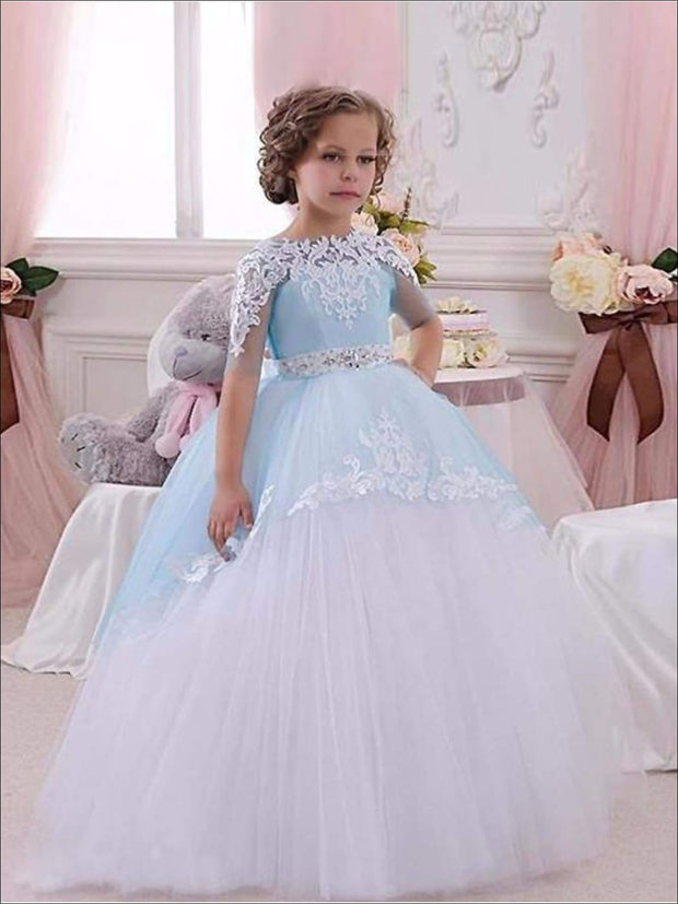 Girls Blue & White Lace & Tulle Flower Girls Pageant Style Gown Dress - Blue & White / 2T - Girls Gown