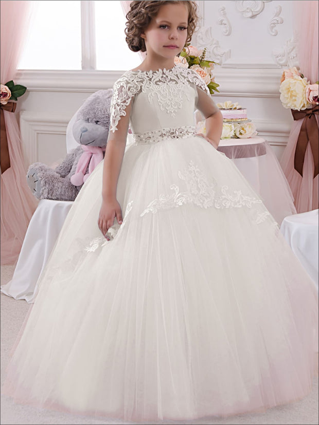 Girls Blue & White Lace & Tulle Flower Girls Pageant Style Gown Dress - White / 2T - Girls Gown