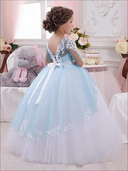 Girls Blue & White Lace & Tulle Flower Girls Pageant Style Gown Dress - Girls Gown