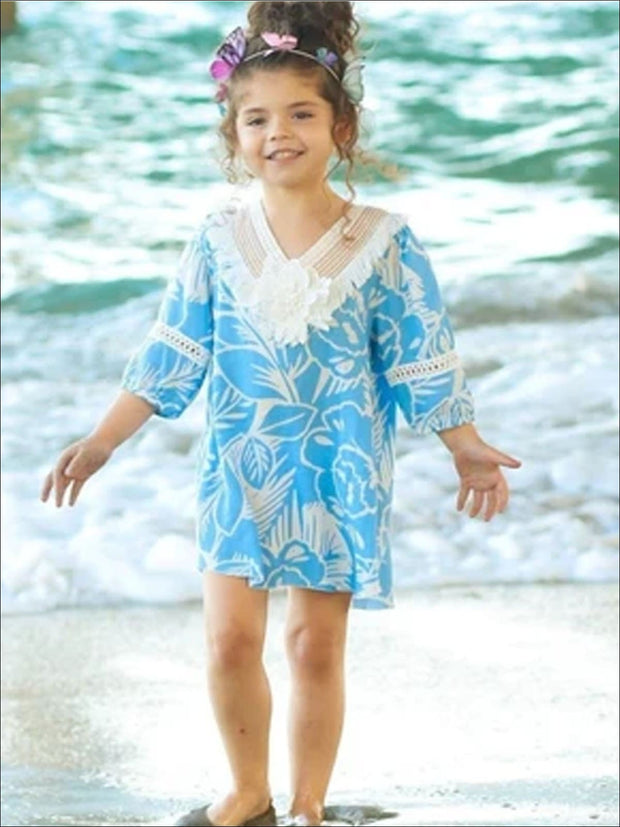 Girls Blue & White Palm Print 3/4 Sleeve Shirttail Hem Tunic with Crochet Collar - Girls Spring Top