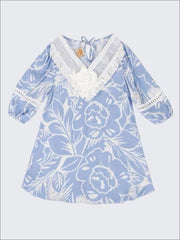 Girls Blue & White Palm Print 3/4 Sleeve Shirttail Hem Tunic with Crochet Collar - Blue / 2T-3T - Girls Spring Top