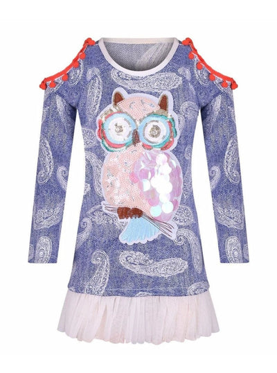 Girls Blue & White Raglan Sleeve Cold Shoulder Ruffled Top - Blue/White / 2T/3T - Girls Fall Top