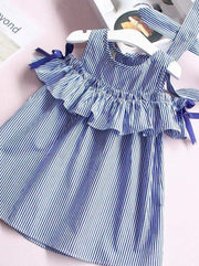Girls Blue & White Stripe Ruffled Cold Shoulder Tunic Dress - Girls Spring Casual Dress
