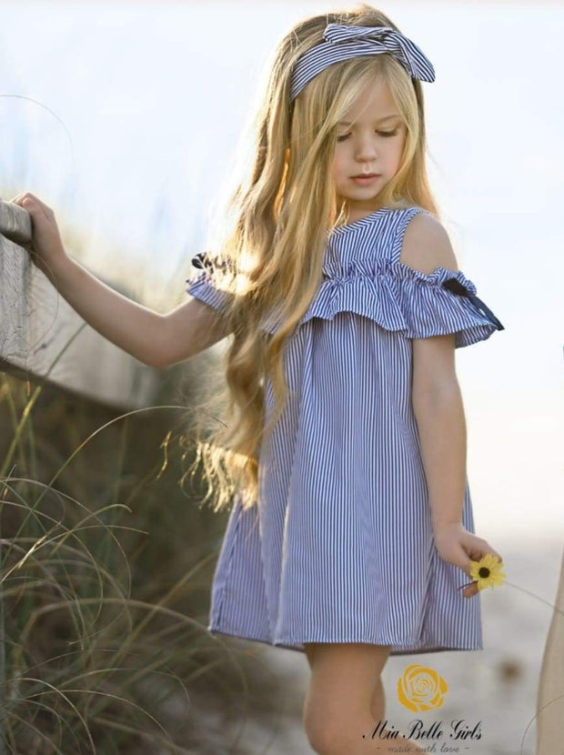 Girls Blue & White Stripe Ruffled Cold Shoulder Tunic Dress - 2T - Girls Spring Casual Dress