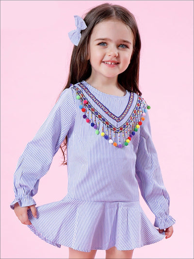 Girls Blue & White Striped Tunic with Rainbow Pom Pom Trim & Ruffled Hem - Girls Spring Top