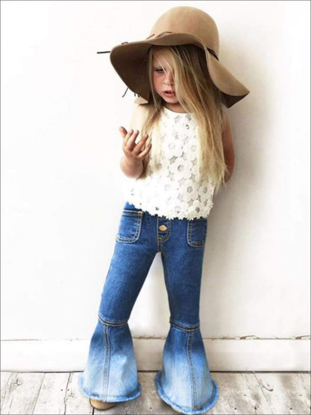 Girls Bohemian Bell-bottomed Ombre Jeans - Girls Jeans