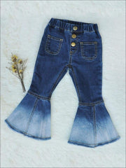 Girls Bohemian Bell-bottomed Ombre Jeans - Blue / 7/8 - Girls Jeans