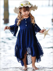 Girls Bohemian Button-Up Ruffle Hi-Low Dress - Girls Spring Casual Dress