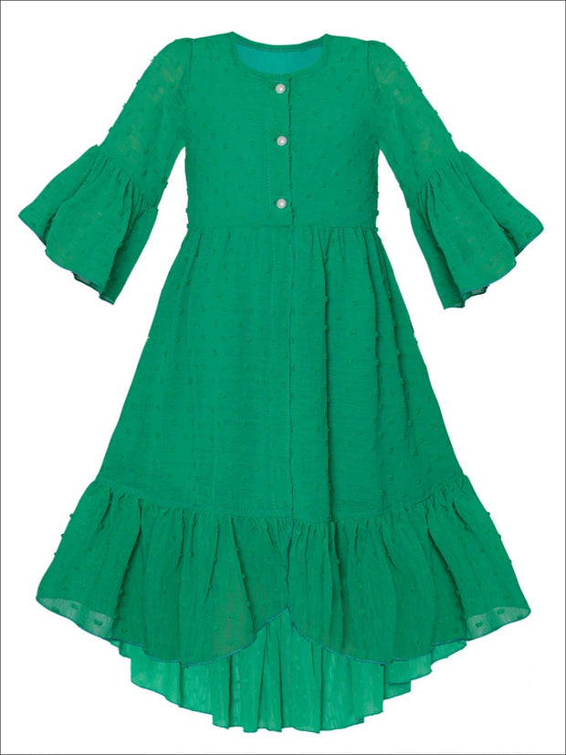 Girls Bohemian Button-Up Ruffle Hi-Low Dress - Green / 2T/3T - Girls Spring Casual Dress