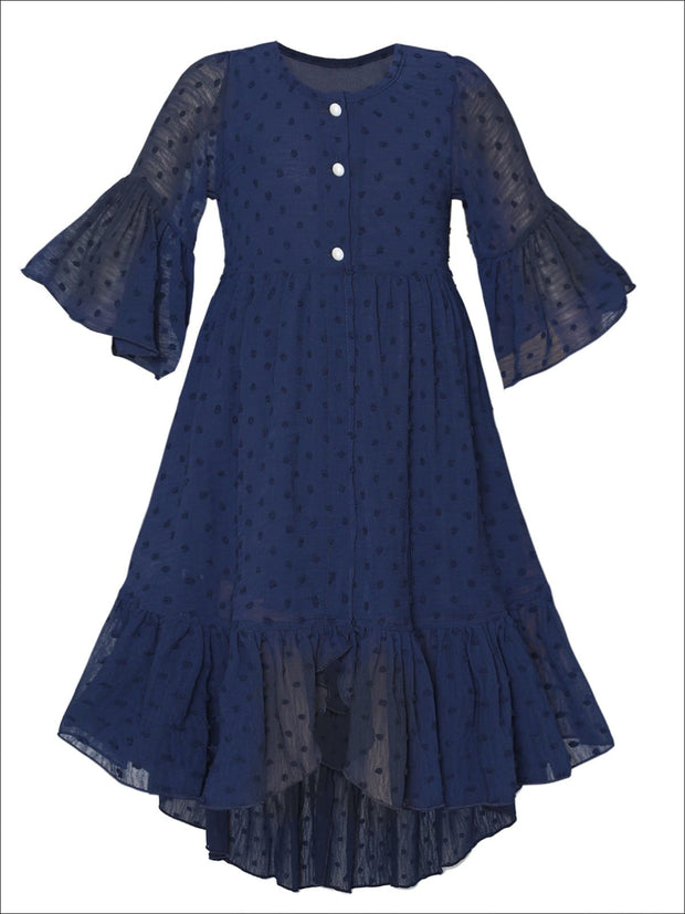 Girls Bohemian Button-Up Ruffle Hi-Low Dress - Navy / 2T/3T - Girls Spring Casual Dress