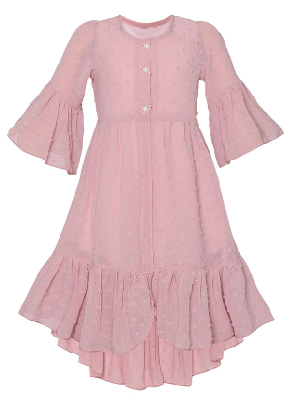 Girls Bohemian Button-Up Ruffle Hi-Low Dress - Pink / 2T/3T - Girls Spring Casual Dress