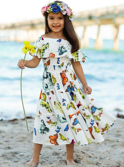 Girls Bohemian Ruffle Off The Shoulder Butterfly Maxi Dress - Girls Spring Casual Dress