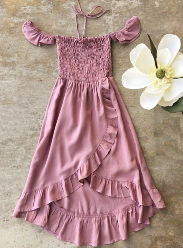 Girls Bohemian Ruffled Off The Shoulder Hi-Low Dress - Girls Spring Casual Dress