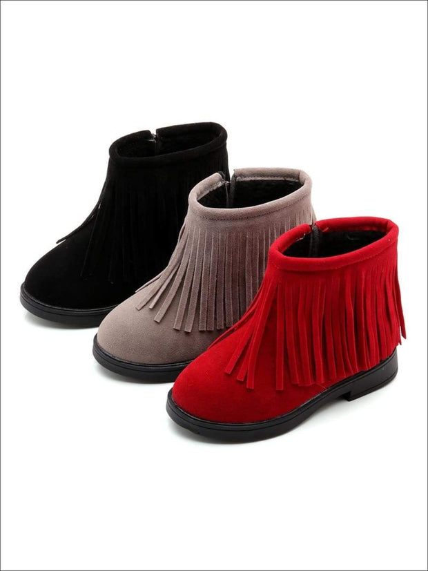 Girls Bohemian Suede Fringe Ankle Boots - Girls Boots