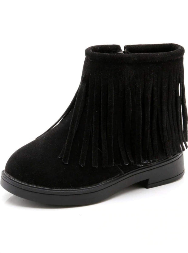 Girls Bohemian Suede Fringe Ankle Boots - Black / 13.5 - Girls Boots