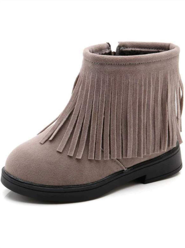 Girls Bohemian Suede Fringe Ankle Boots - Gray / 13.5 - Girls Boots