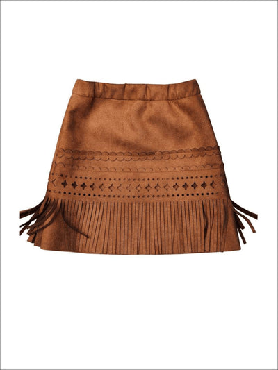 Girls Bohemian Suede Fringe Tassel Skirt - 2T - Girls Leggings
