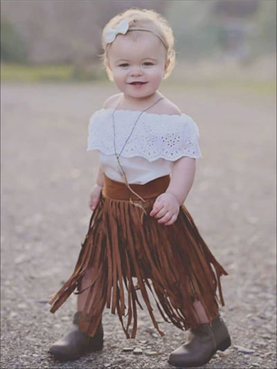 Girls Bohemian Suede Tiered Fringe Skirt - Girls Leggings