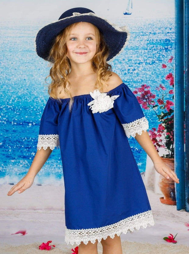 Girls Boho Elastic Off the Shoulder Lace Trimmed Dress with Flower Clip - Girls Spring Casual Dress