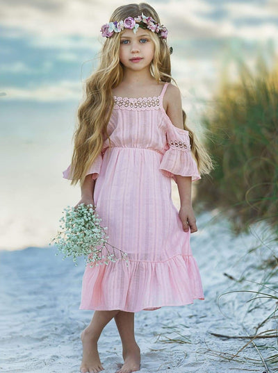 Girls Boho Floral Lace Dress - Girls Spring Casual Dress