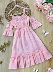 Girls Boho Floral Lace Dress - Pink / 3T/4T - Girls Spring Casual Dress