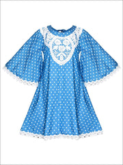 Girls Boho Lace Edge & Collar Trim Dress - Blue / 2T/3T - Girls Spring Casual Dress