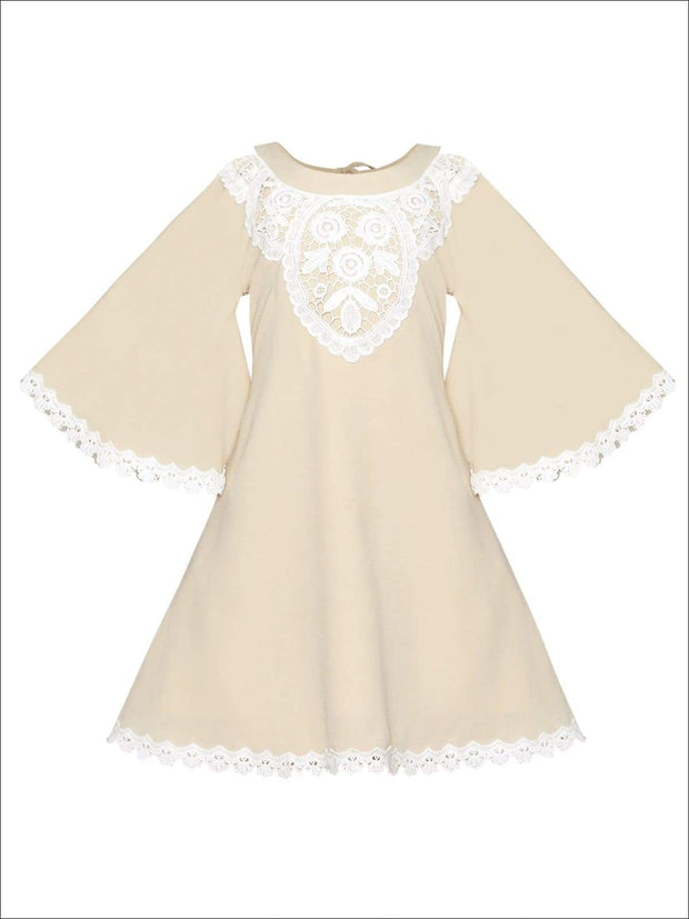 Girls Boho Lace Edge & Collar Trim Dress - Beige / 2T/3T - Girls Spring Casual Dress