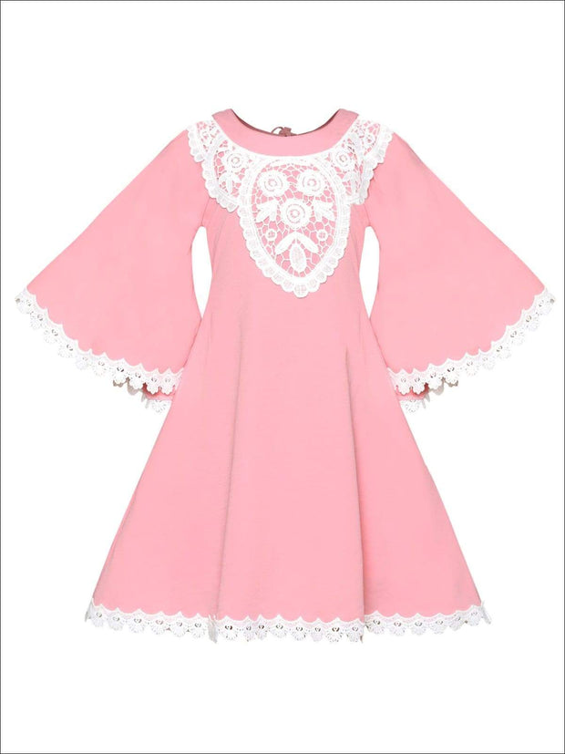 Girls Boho Lace Edge & Collar Trim Dress - Pink / 2T/3T - Girls Spring Casual Dress