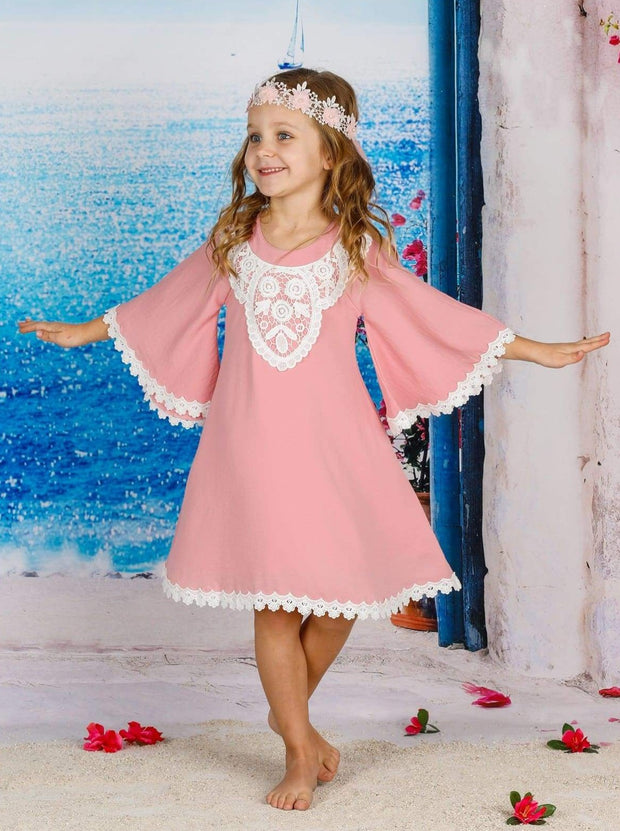 Girls Boho Lace Edge & Collar Trim Dress - Girls Spring Casual Dress