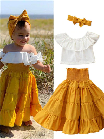 Girls Boho Maxi Skirt And Ruffled Top Set - Yellow / 3T - Girls Casual Spring Set